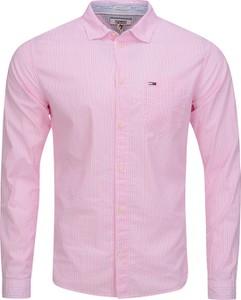 Różowa koszula Tommy Jeans z bawełny