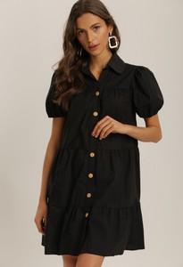 Czarna sukienka Renee z kołnierzykiem z krótkim rękawem w stylu casual