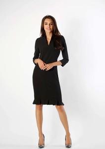 Czarna sukienka Nommo z długim rękawem midi