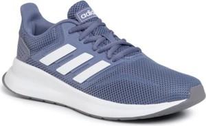 Fioletowe buty sportowe Adidas sznurowane z płaską podeszwą