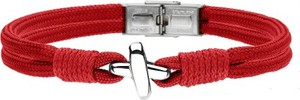 Manoki BA754C czerwona bransoletka męska z symbolem X