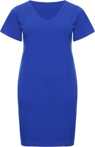 Niebieska sukienka modneduzerozmiary.pl dla puszystych z dresówki