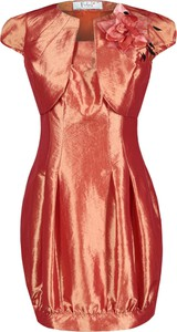 Pomarańczowa sukienka Fokus z krótkim rękawem mini w stylu glamour
