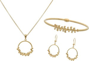 Irbis.style srebrny pozłacany komplet biżuterii - kolczyki, bransoletka i naszyjnik