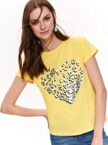 Żółty t-shirt Top Secret z okrągłym dekoltem z krótkim rękawem