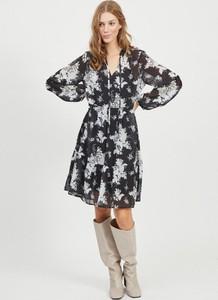 Sukienka Vila mini z dekoltem w kształcie litery v z długim rękawem