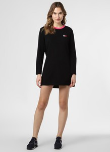 Czarna sukienka Tommy Jeans mini z długim rękawem sportowa
