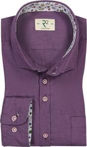 Fioletowa koszula R2 w sportowym stylu z bawełny