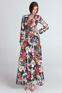 Sukienka Merg maxi z dekoltem w kształcie litery v z długim rękawem