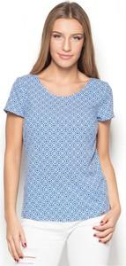 Niebieska bluzka Katrus z krótkim rękawem w stylu casual