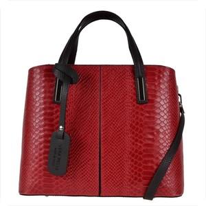 Vera pelle torebka skórzana kuferek wzór wężowej skóry czerwona