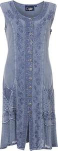 Niebieska sukienka Coline bez rękawów z okrągłym dekoltem