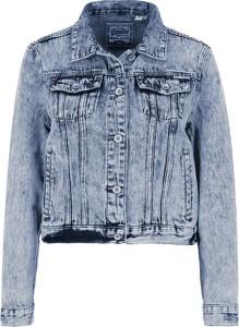 Niebieska kurtka Superdry krótka z jeansu w stylu casual