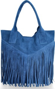 Niebieska torebka VITTORIA GOTTI duża w stylu retro z frędzlami