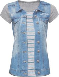Błękitny t-shirt bonprix RAINBOW w stylu casual z krótkim rękawem
