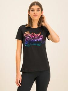 Czarny t-shirt Superdry z okrągłym dekoltem w młodzieżowym stylu