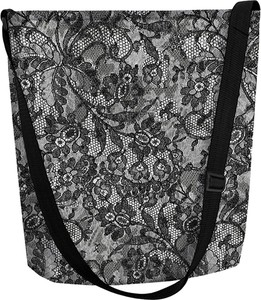 Czarna torebka Bertoni z nadrukiem w wakacyjnym stylu duża