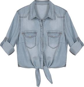 Niebieska koszula Yaze z kołnierzykiem w street stylu z krótkim rękawem