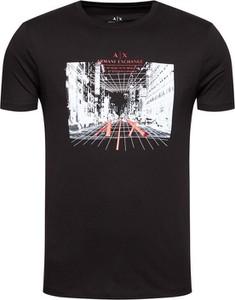Czarny t-shirt Armani Exchange z bawełny z krótkim rękawem