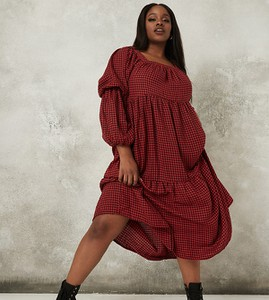 Czerwona sukienka Missguided Plus w stylu casual z długim rękawem maxi