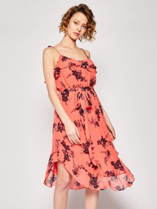 Różowa sukienka Michael Kors midi w stylu boho