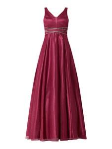 Różowa sukienka Troyden Collection maxi rozkloszowana