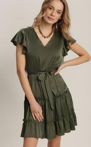 Zielona sukienka Renee z dekoltem w kształcie litery v w stylu casual mini