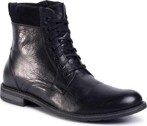 Czarne buty zimowe Gino Rossi z zamszu