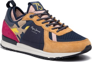Buty sportowe Pepe Jeans sznurowane z zamszu