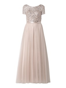 Różowa sukienka Unique z satyny rozkloszowana
