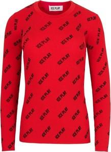 Czerwony sweter Ice Play z okrągłym dekoltem