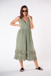 Sukienka Ptakmoda.com z dekoltem w kształcie litery v z bawełny z odkrytymi ramionami