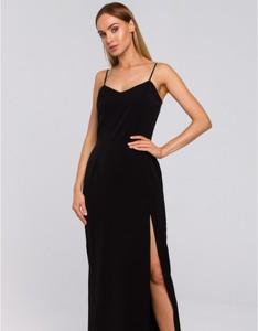 Czarna sukienka MOE na ramiączkach maxi