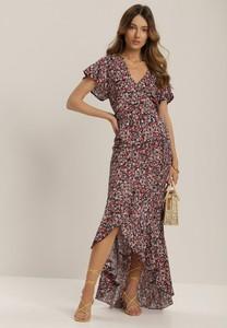 Granatowa sukienka Renee z dekoltem w kształcie litery v w stylu boho maxi