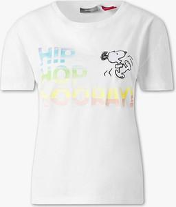 T-shirt YESSICA z okrągłym dekoltem z bawełny z krótkim rękawem