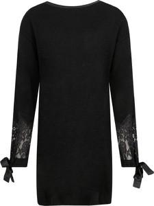 Czarna sukienka Twinset mini z wełny z długim rękawem
