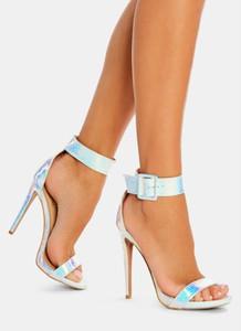 Srebrne sandały DeeZee z klamrami