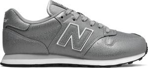 Srebrne buty sportowe New Balance z płaską podeszwą