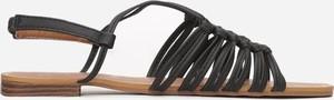 Czarne sandały Multu z klamrami ze skóry