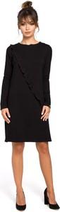 Czarna sukienka Be z okrągłym dekoltem w stylu casual z długim rękawem