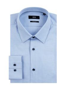 Niebieska koszula Boss z klasycznym kołnierzykiem z bawełny z długim rękawem