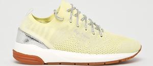 Żółte buty sportowe Pepe Jeans z płaską podeszwą sznurowane