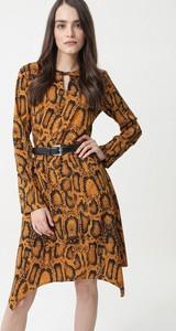 Brązowa sukienka born2be mini w stylu casual z okrągłym dekoltem