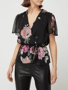 Czarna bluzka Guess z szyfonu z krótkim rękawem