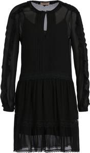 Czarna sukienka Twinset z długim rękawem z okrągłym dekoltem rozkloszowana
