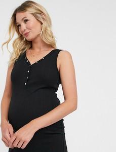 New Look Maternity – Czarna sukienka ciążowa w prążki z plisą na zatrzaski-Czarny