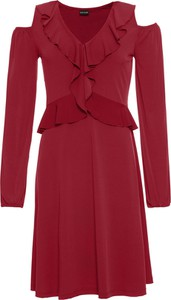 Czerwona sukienka bonprix BODYFLIRT z dekoltem w kształcie litery v z długim rękawem