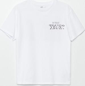 T-shirt Cropp z krótkim rękawem z bawełny z okrągłym dekoltem
