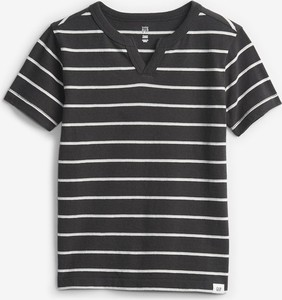 Czarna koszulka dziecięca Gap w paseczki z bawełny