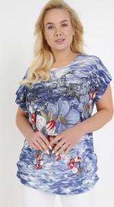 Granatowa bluzka born2be z krótkim rękawem z okrągłym dekoltem